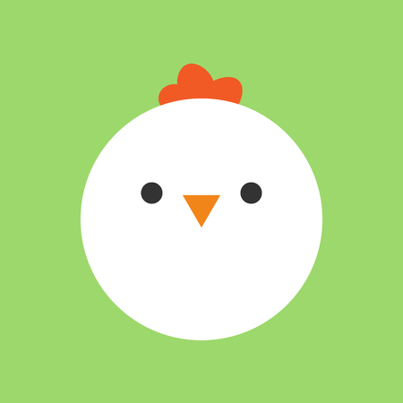 Cute chicken round vector graphic icon. White Hen Bird Animal Head, Face Illustration. Isolated on green background.
