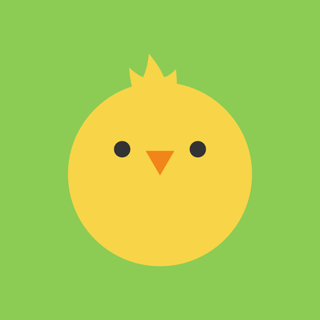 Cute chicken round vector graphic icon. Yellow chicken bird head, face illustration. Isolated on green background.