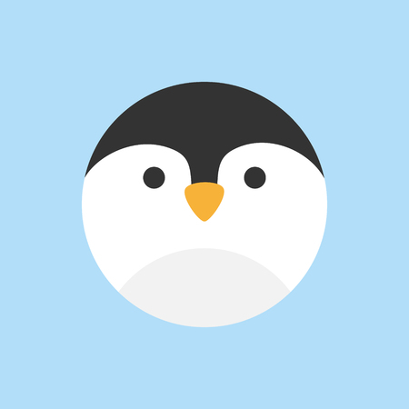 Cute penguin round vector graphic icon. Penguin bird animal head, face illustration. Isolated on blue background. Çizim