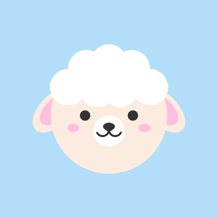 Cute sheep round vector graphic icon. Sheep animal head. Isolated on blue background.