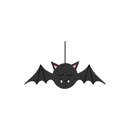Cute hand drawn spooky bat vector illustration. Halloween bat, vampire hanging on string, isolated.