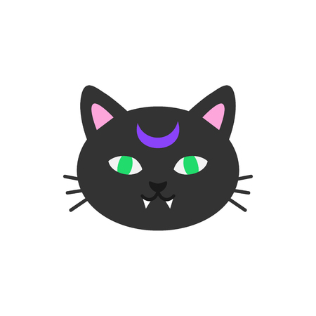 Cute hand drawn spooky cat vector illustration. Halloween themed, witch black cat head, isolated. Illustration