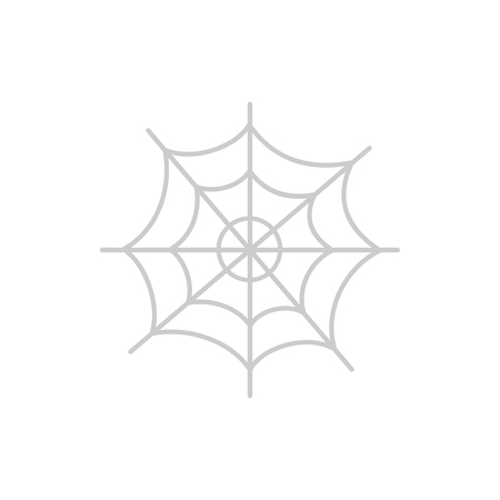 Cute hand drawn spider web vector illustration. Halloween themed, grey cobweb icon, isolated.