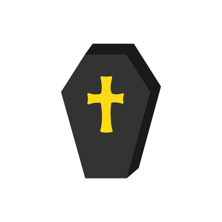 Hand drawn spooky coffin vector illustration. Halloween vampire casket with yellow, gold cross, isolated.