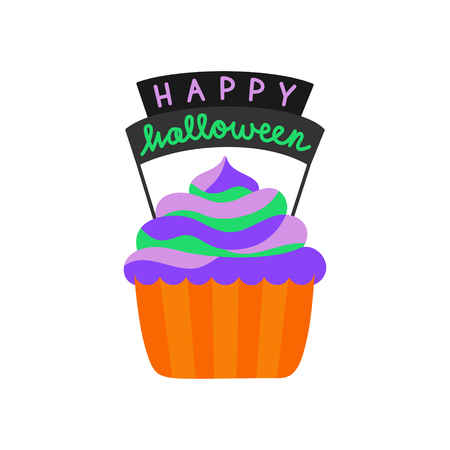 Cute hand drawn cupcake vector illustration. Halloween themed and decorated cupcake in orange paper cup with colorful frosting and Happy halloween writing, isolated.  イラスト・ベクター素材