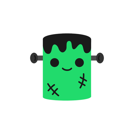 Cute hand drawn spooky frankenstein monster vector illustration. Halloween green zombie with black hair, scars and grey nails in head, isolated.