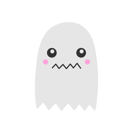 Cute hand drawn spooky ghost vector illustration. Halloween scary white spook, isolated. Ilustração
