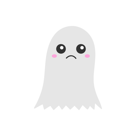 Cute hand drawn spooky ghost vector illustration. Halloween scary white spook, isolated. Standard-Bild - 121528440