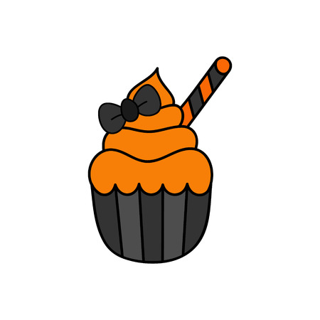 Cute hand drawn cupcake vector illustration. Halloween themed and decorated cupcake in black paper cup with orange frosting, black ribbon bow and striped roll, isolated.  イラスト・ベクター素材