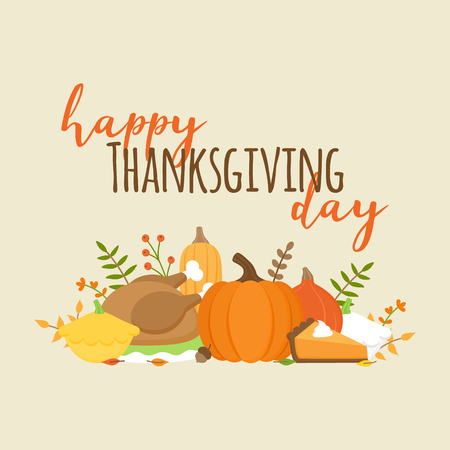 Happy Thanksgiving day autumn vector graphic illustration with writing. Editable card for print or web. Set of pumpkin, squash, leaves, plants, roast turkey and pumpkin pie. Holiday greeting card. Stock Illustratie