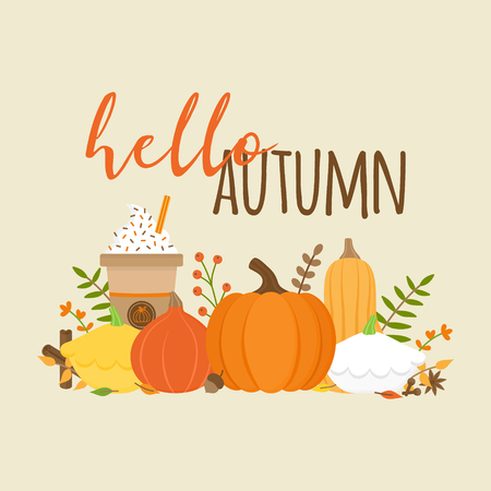Hello autumn vector graphic illustration with writing. Editable card for print or web. Set of different types of pumpkin, squash, spice and plant. Pumpkin spice latte, coffee in cup.