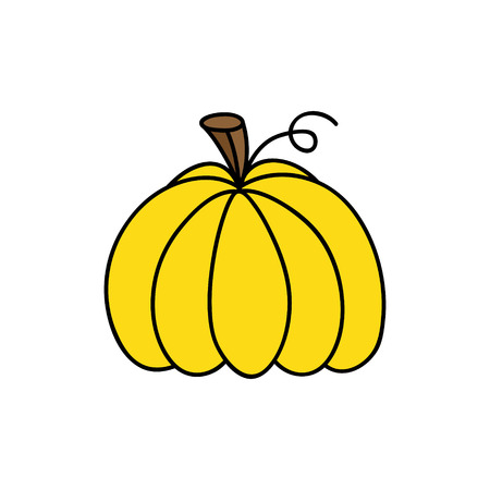 Bright yellow hand drawn cute pumpkin vector illustration. Halloween or thanksgiving, autumn colorful pumpkin, isolated. 向量圖像