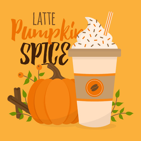 Pumpkin spice latte vector graphic illustration. Cute autumn, fall background; pumpkin, rowan berry, cup of coffee with whipped cream, sprinkles and striped straw, leaves and cinnamon sticks. Ilustração