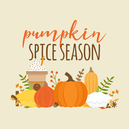 Pumpkin spice season vector graphic illustration with writing. Editable card for print or web. Set of different types of pumpkin, squash, spice and plant. Pumpkin latte, coffee in cup. Ilustracje wektorowe