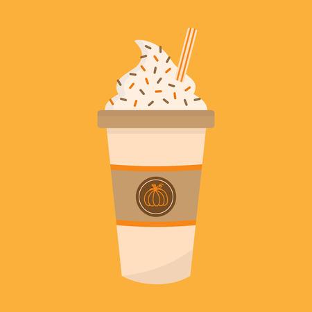 Illustrazione grafica vettoriale di zucca spezie latte. Carino autunno, tazza di caffè in carta decorata autunnale con panna montata, granelli e paglia a strisce. Icona del caffè delle spezie della zucca, isolata.