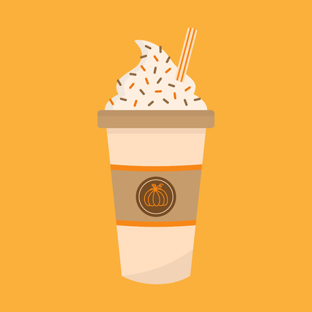 Pumpkin spice latte vector graphic illustration. Cute autumn, fall decorated paper cup of coffee with whipped cream, sprinkles and striped straw. Pumpkin spice coffee icon, isolated.