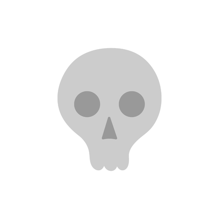Hand drawn skull vector illustration. Halloween gray skeleton head icon, isolated.