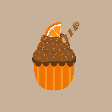 Christmas, autumn chocolate orange cupcake vector illustration icon. Cute spiced cupcake decorated with brown whipped cream frosting, sprinkles and roll. Isolated on beige background.