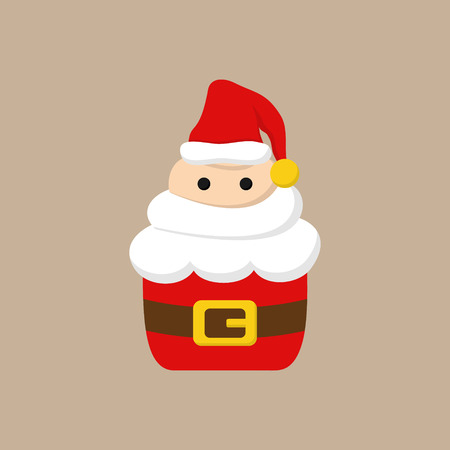 Christmas, santa cupcake vector illustration icon. Cute cupcake decorated with whipped cream frosting in shape of santa claus head with beard, eyes and hat. Isolated on beige background. Vectores