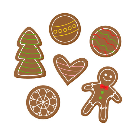 Christmas gingerbread cookies vector illustration icon set. Festive, holiday, traditional gingerbread man, snowflake, heart, xmas tree and ornaments decorated with sugar icing. Illustration