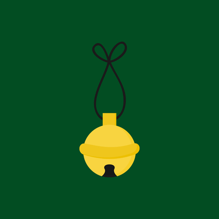 Christmas jingle bell vector illustration icon. Festive, holiday, seasonal, traditional yellow, gold jingle bell, isolated on green background. Illustration