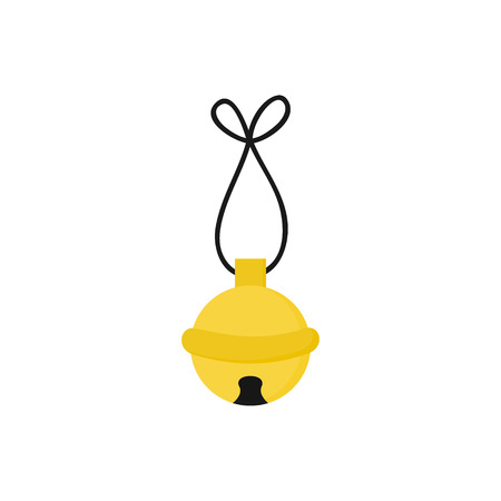 Christmas jingle bell vector illustration icon. Festive, holiday, seasonal, traditional yellow, gold jingle bell, isolated. Illustration