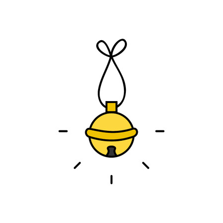 Christmas jingle bell vector outlined illustration icon. Festive, holiday, seasonal, traditional yellow, gold jingle bell, isolated.