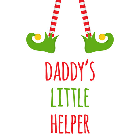 Daddy's little helper vector graphic illustration. Christmas, holiday themed t-shirt template for baby, children. Xmas elf legs and shoes with jingle bells on top with writing below, isolated. 일러스트