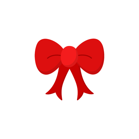Red ribbon bow vector illustration icon. Christmas, holiday or birthday red ribbon, bow for gift, present or decoration, like xmas tree ornament.