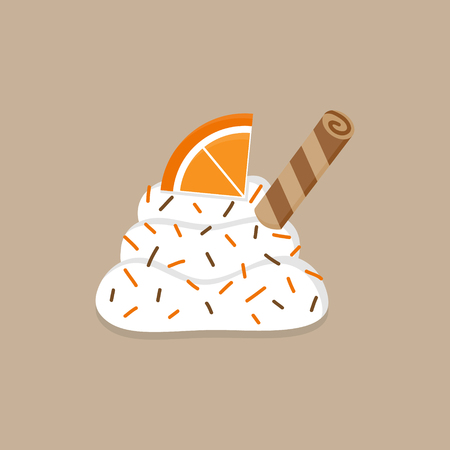 Christmas, autumn whipped cream vector illustration icon. Cute decorated dollop of cream with sprinkles, orange and roll. Isolated on beige background. Illustration
