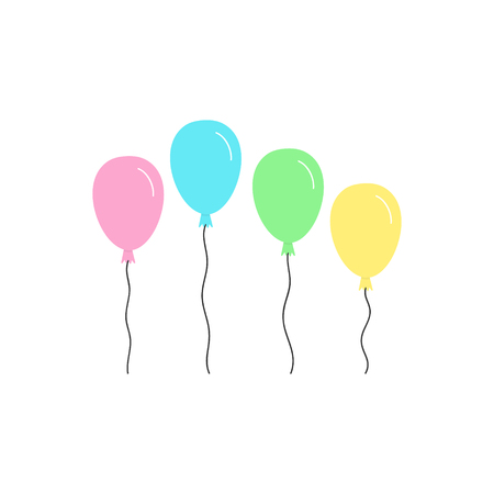 Cute colorful pastel balloons with strings. Vector graphic illustration icons. Isolated pink, yellow, green and blue balloons.