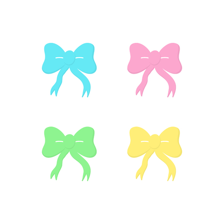 Set of four colorful ribbon bows, vector graphic illustration icons. Pink, yellow, green and blue ribbon bows. Isolated.