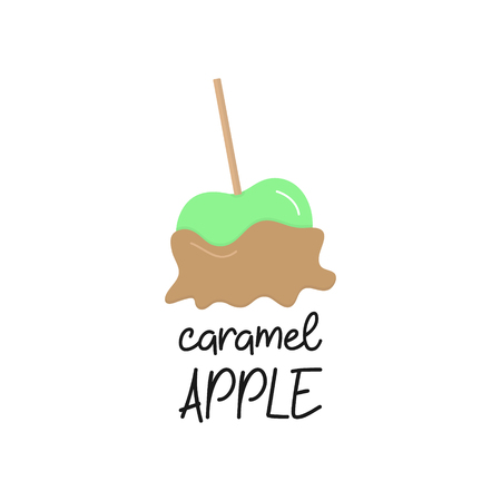 Caramel apple vector graphic illustration icon with writing. Green apple fruit in sweet sugar caramel coating. Isolated. Çizim