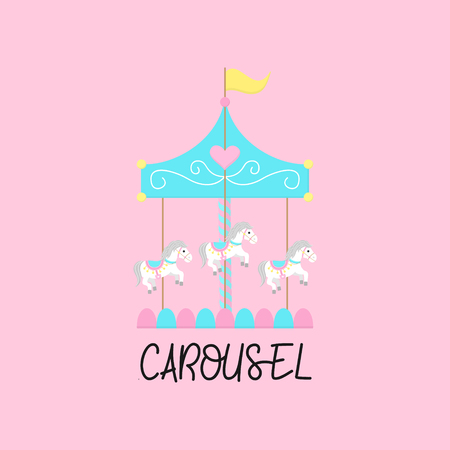 Merry go round, carousel with horses, vector graphic illustration icon with writing. Isolated on light pink background. Çizim