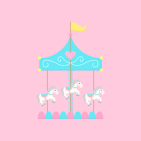 Merry go round, carousel with white horses, vector graphic illustration icon. Isolated on light pink background.