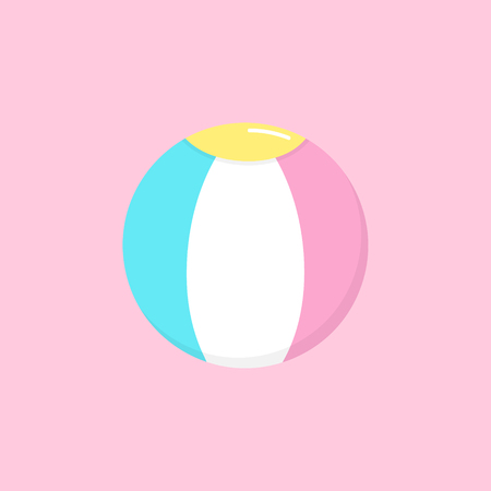 Cute circus ball vector graphic illustration icon. colorful ball toy, isolated on light pink background. Çizim