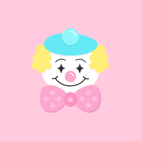 Cute circus clown vector graphic illustration icon. Hand drawn carnival, funfair clown performer. Clown with pink nose, blue beret, yellow hair and big pink bow tie. Isolated on light pink background.