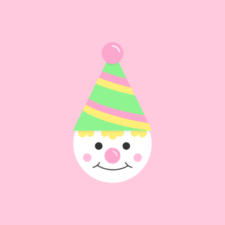 Circus, carnival, amusement park clown vector graphic illustration icon. Cute birthday party funny clown. Isolated on light pink background. Çizim