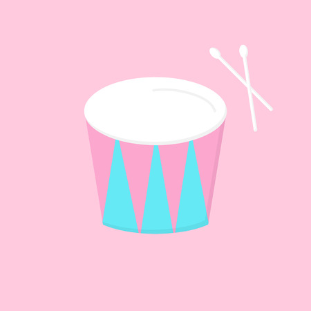 Circus drum, stand vector graphic illustration icon. Blue and pink drum with white drumsticks. Isolated on light pink background.