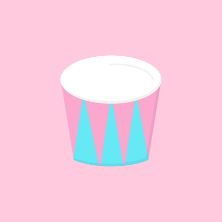 Circus drum, stand vector graphic illustration icon. Blue and pink drum. Isolated on light pink background. Çizim