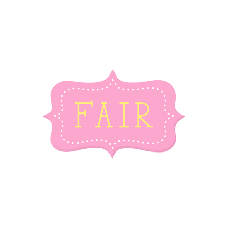 Fair, yellow hand written vector text. Funfair pink label, sticker. Isolated.