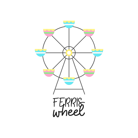 Cute ferris wheel vector graphic illustration icon. Funfair, carnival, circus amusement with writing, text. Isolated.