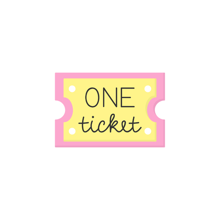 Pink and yellow hand written One ticket. Carnival, circus, funfair, ticket. Isolated.
