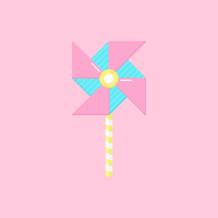 Cute windmill vector graphic illustration icon. Hand drawn paper windmill toy, isolated on light pink background.