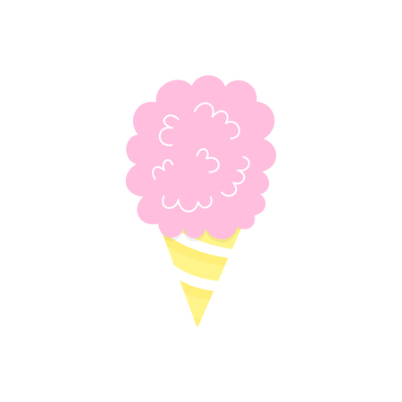 Pink cotton candy vector graphic illustration. Candy floss in yellow striped cone, icon. Isolated.