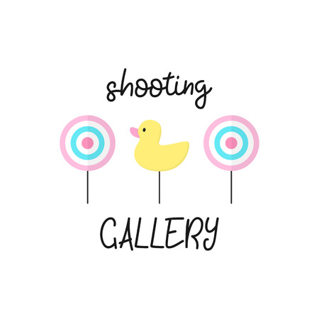 Cute shooting gallery vector graphic illustration with writing. Classic targets and duck. Isolated. Çizim