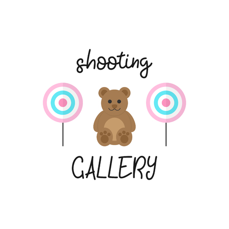 Cute shooting gallery vector graphic illustration with writing. Classic targets and teddy bear, win price. Isolated.