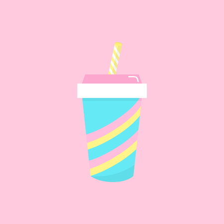 Blue paper cup with pink and yellow stripes, white and yellow striped straw. Vector graphic illustration icon, isolated on light pink background.