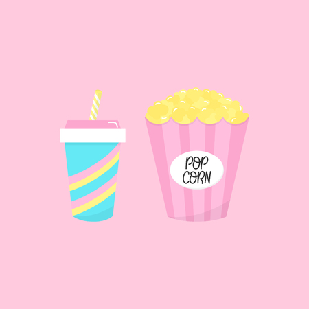 Set of cinema fast food, snacks. Popcorn in pink paper box, soda drink in blue paper cup with stripes and straw. Vector graphic illustration icon set. Isolated on light pink background.