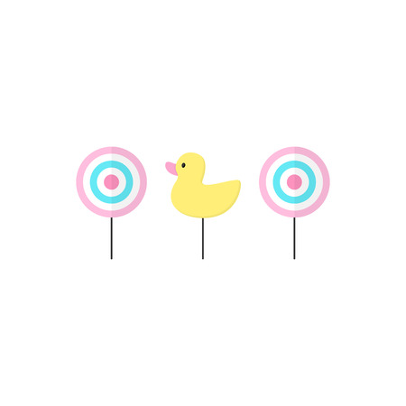 Cute shooting gallery vector graphic illustration icons. Classic targets and duck. Isolated.